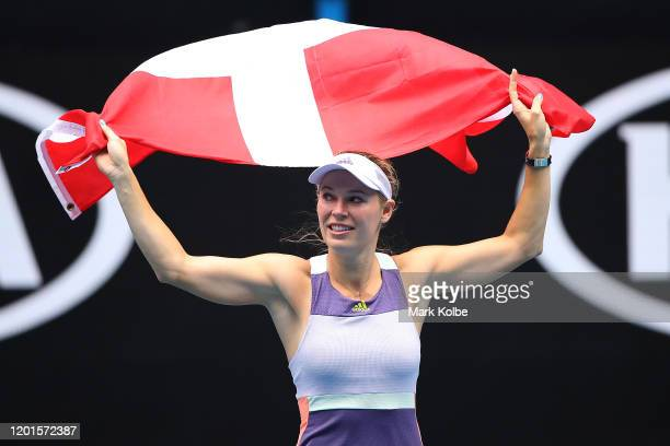 Caroline Wozniacki of Denmark acknowledges the crowd following her Women's Singles third round match against Ons Jabeur of Tunisia on day five of the...