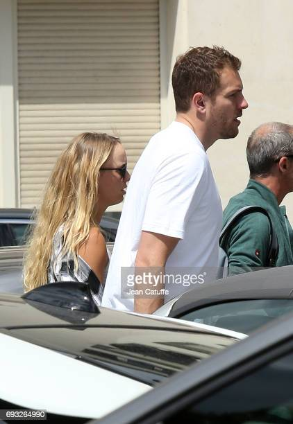 Caroline Wozniacki of Denmark and her boyfriend David Lee NBA player of San Antonio Spurs sighting on day 10 of the 2017 French Open second Grand...