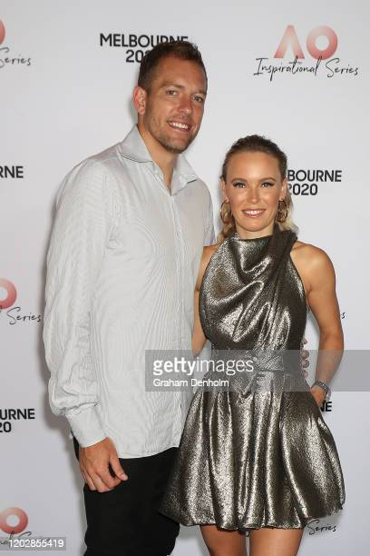 Caroline Wozniacki of Denmark and husband David Lee attend the AO Inspirational Series Lunch during the Australian Open 2020 at The Glasshouse at...