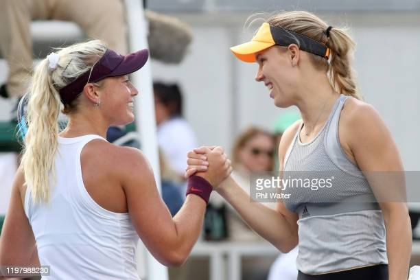 Caroline Wozniacki of Denmark and Paige Hourigan of New Zealand shake hands following their first round match during day two of the 2020 ASB Classic...