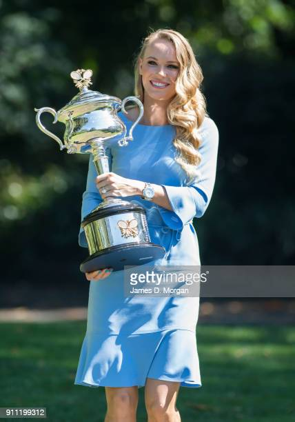 Caroline Wozniacki of Denmark arrives at the Royal Botanical Gardens with the Daphne Akhurst Memorial Cup after winning the 2018 Women's Singles...