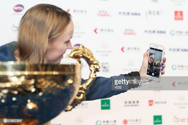 Caroline Wozniacki of Denmark attends a press conference after winning the Women's Singles final match against Anastasija Sevastova of Latvia on day...