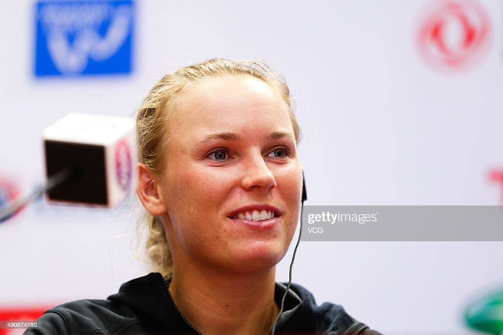 Caroline Wozniacki of Denmark attends a press conference during day three of the 2015 Wuhan Open at Optics Vally International Tennis Center on September 29, 2015 in Wuhan, China.