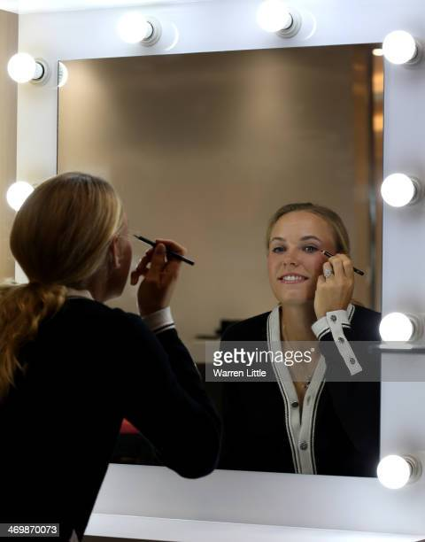 Caroline Wozniacki of Denmark attends an Oriflame WTA Strong is Beautiful product launch ahead of day one of the WTA Dubai Duty Free Tennis...