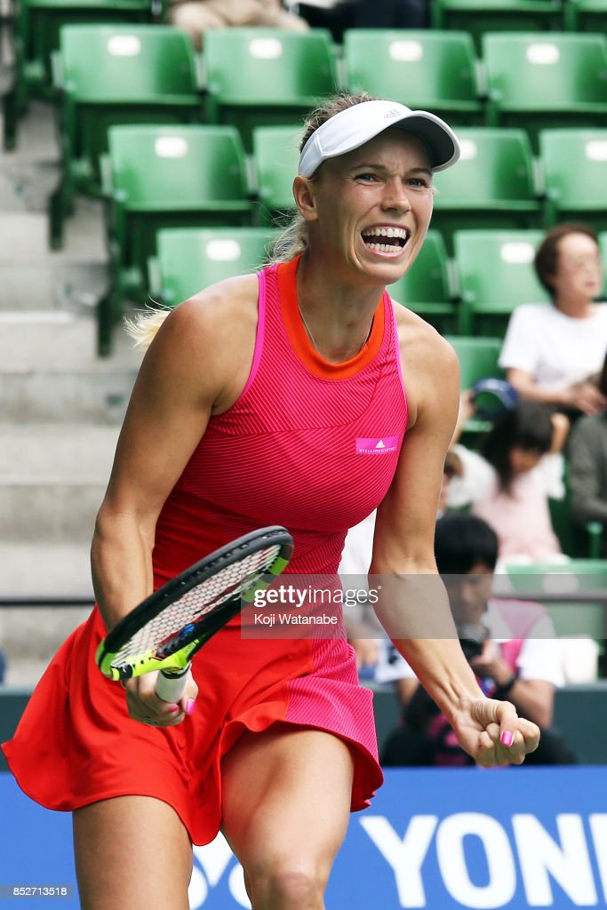 Caroline Wozniacki of Denmark celebrate winning Anastasia Pavlyuchenkova of Russia during the women's singles final match during day seven of the Toray Pan Pacific Open Tennis At Ariake Coliseum on September 24, 2017 in Tokyo, Japan.