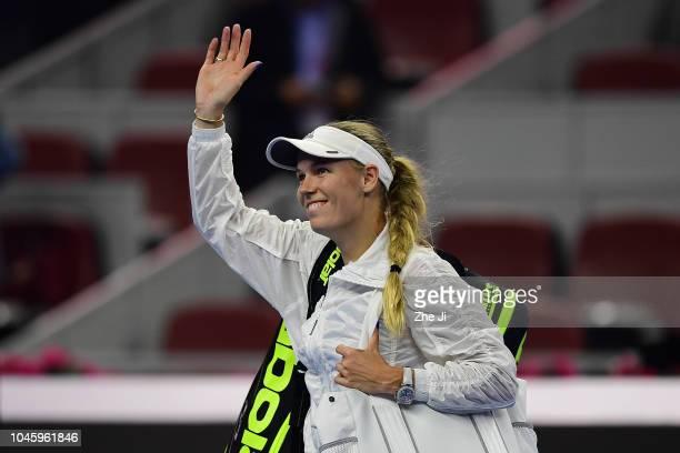 Caroline Wozniacki of Denmark celebrates after defeating Katerina Siniakova of the Czech Republic during her Women's Singles quarterfinals match in...