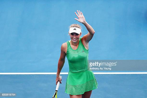 Caroline Wozniacki of Denmark celebrates after winning her match against Nicole Gibbs of USA on day two of the ASB Classic on January 3 2017 in...