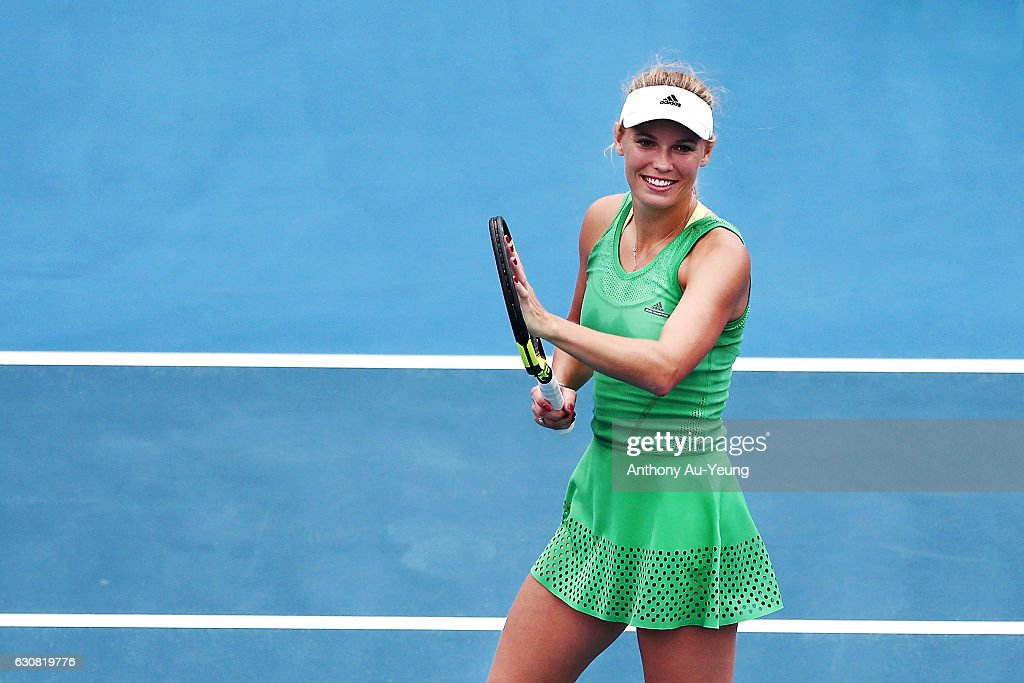 Caroline Wozniacki of Denmark celebrates after winning her match against Nicole Gibbs of USA on day two of the ASB Classic on January 3, 2017 in Auckland, New Zealand.
