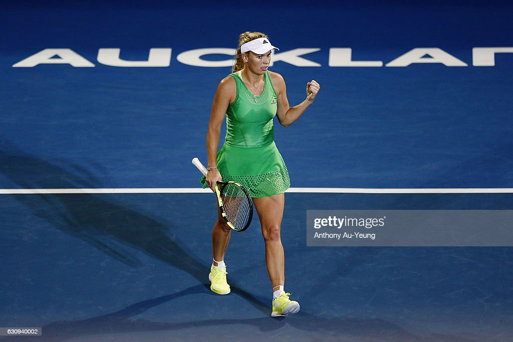 Caroline Wozniacki of Denmark celebrates after winning her match against Varvara Lepchenko of USA on day three of the ASB Classic on January 4, 2017 in Auckland, New Zealand.