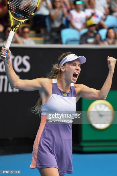 Caroline Wozniacki of Denmark celebrates after winning her second round match against Dayana Yastremska of Ukraine on day three of the 2020...