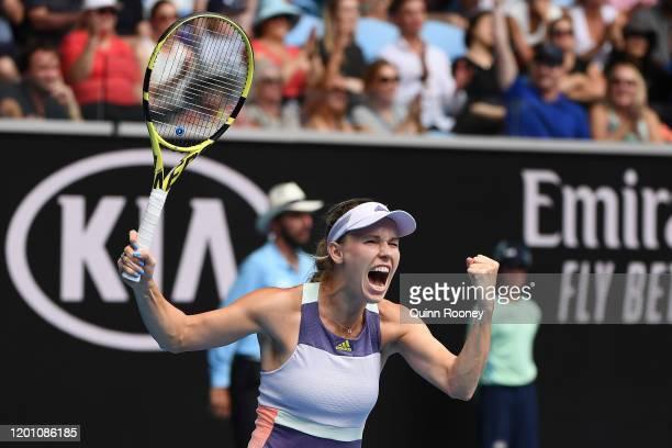 Caroline Wozniacki of Denmark celebrates after winning match point during her Women's Singles second round match against Dayana Yastremska of Ukraine...