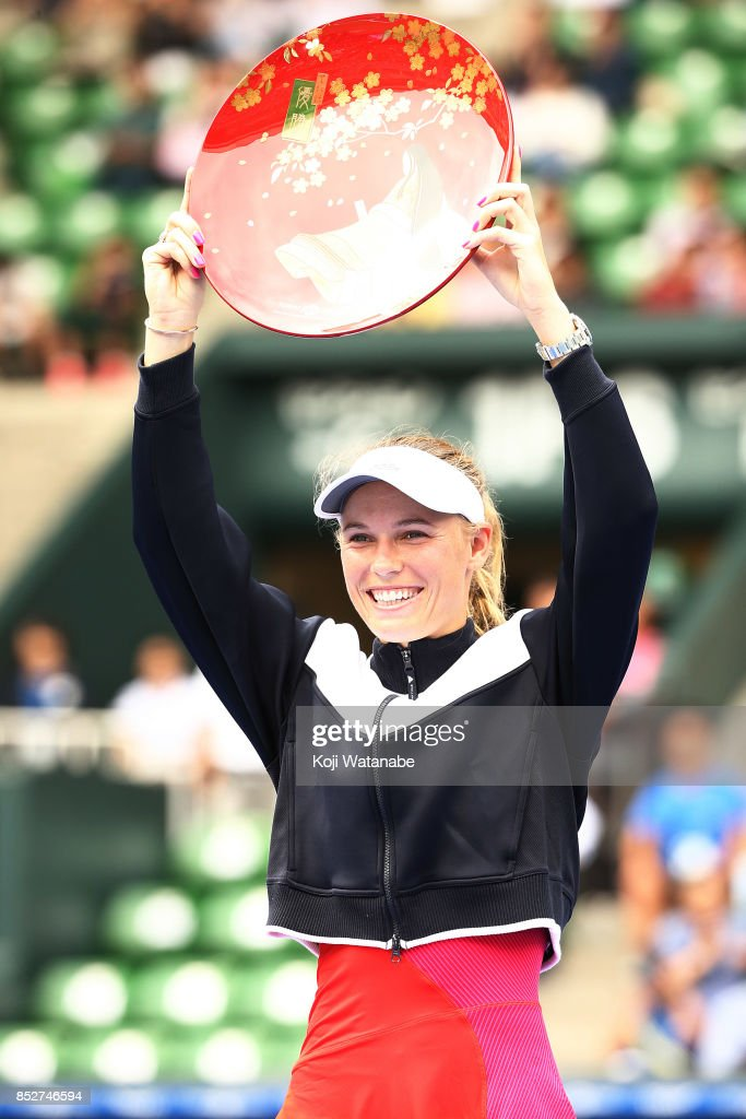 Caroline Wozniacki of Denmark celebrates beating Anastasia Pavlyuchenkova of Russia during the women's singles final match during day seven of the Toray Pan Pacific Open Tennis At Ariake Coliseum on September 24, 2017 in Tokyo, Japan.