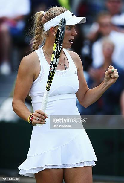 Caroline Wozniacki of Denmark celebrates during her Ladies' Singles fourth round match against Barbora Zahlavova Strycova of Czech Republic on day...