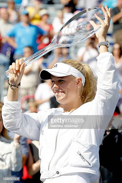 Caroline Wozniacki of Denmark celebrates her win over Vera Zvonareva of Russia during the final of the Rogers Cup at Stade Uniprix on August 23, 2010...