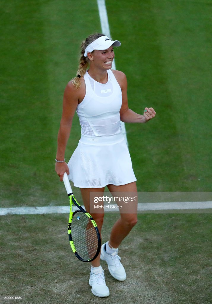 Caroline Wozniacki of Denmark celebrates victory after her Ladies Singles second round match against Tsvetana Pironkova of Bulgaria on day four of the Wimbledon Lawn Tennis Championships at the All England Lawn Tennis and Croquet Club on July 6, 2017 in London, England.
