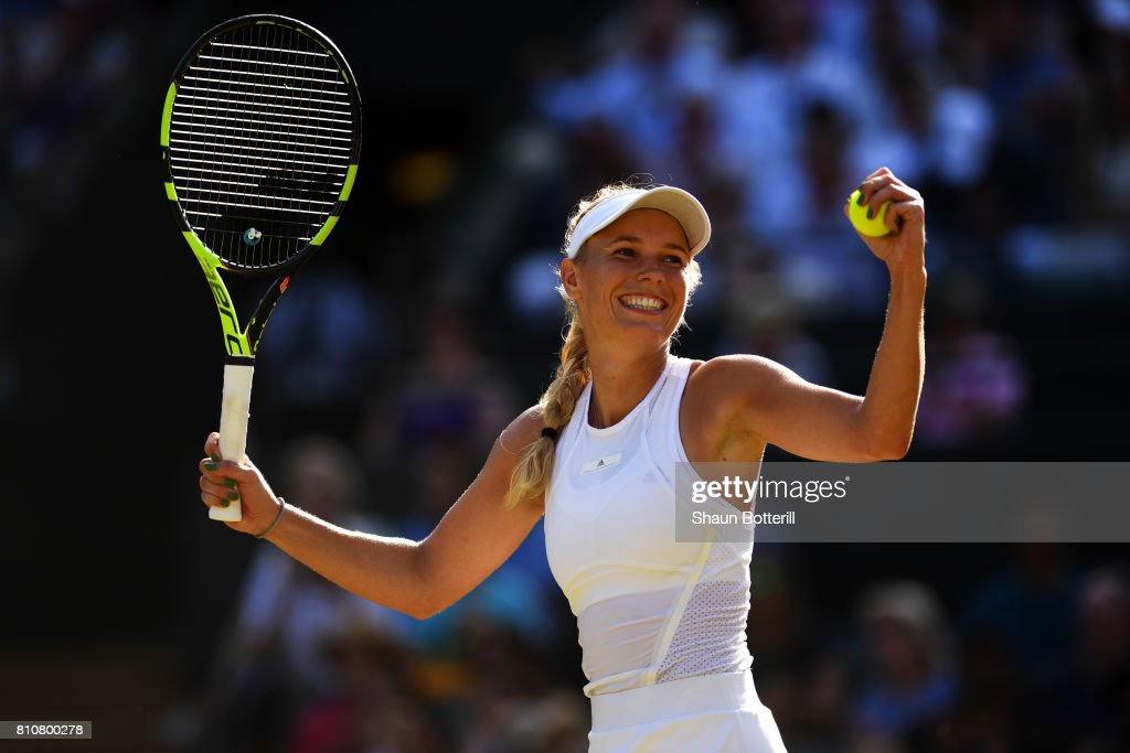 Caroline Wozniacki of Denmark celebrates victory after her Ladies Singles third round match against Anett Kontaveit of Estonia on day six of the Wimbledon Lawn Tennis Championships at the All England Lawn Tennis and Croquet Club on July 8, 2017 in London, England.