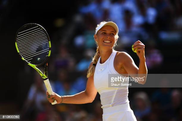 Caroline Wozniacki of Denmark celebrates victory after her Ladies Singles third round match against Anett Kontaveit of Estonia on day six of the...