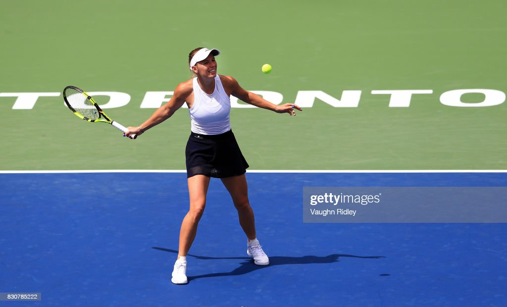 Caroline Wozniacki of Denmark celebrates victory against Sloane Stephens of the United States during a semifinal match on Day 8 of the Rogers Cup at Aviva Centre on August 12, 2017 in Toronto, Canada.