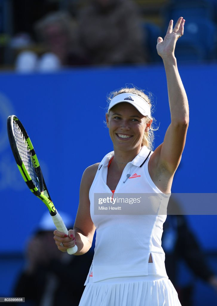 Caroline Wozniacki of Denmark celebrates victory during the ladies singles quarter final match against Simona Halep of Romania on day five of the Aegon International Eastbourne at Devonshire Park Lawn Tennis Club on June 29, 2017 in Eastbourne, England.