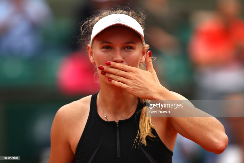 Caroline Wozniacki of Denmark celebrates victory following the ladies singles first round match against Danielle Collins of The United States during day two of the 2018 French Open at Roland Garros on May 28, 2018 in Paris, France.
