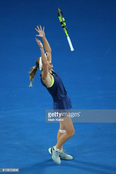 Caroline Wozniacki of Denmark celebrates winning championship point in her women's singles final against Simona Halep of Romania on day 13 of the...