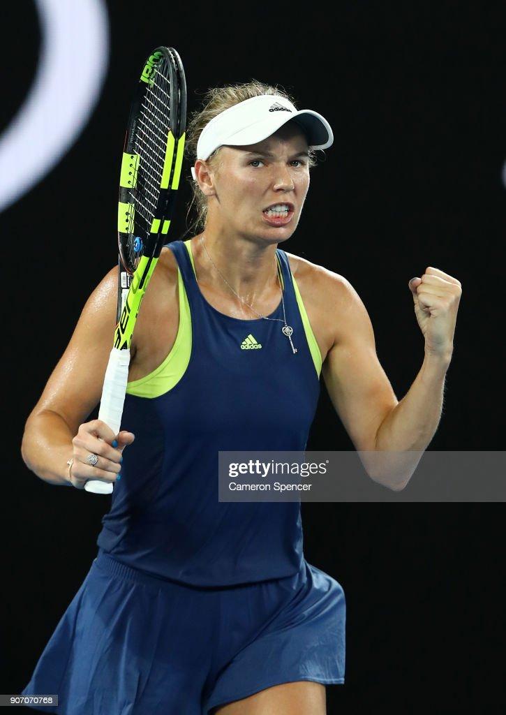 Caroline Wozniacki of Denmark celebrates winning her third round match against Kiki Bertens of the Netherlands on day five of the 2018 Australian Open at Melbourne Park on January 19, 2018 in Melbourne, Australia.