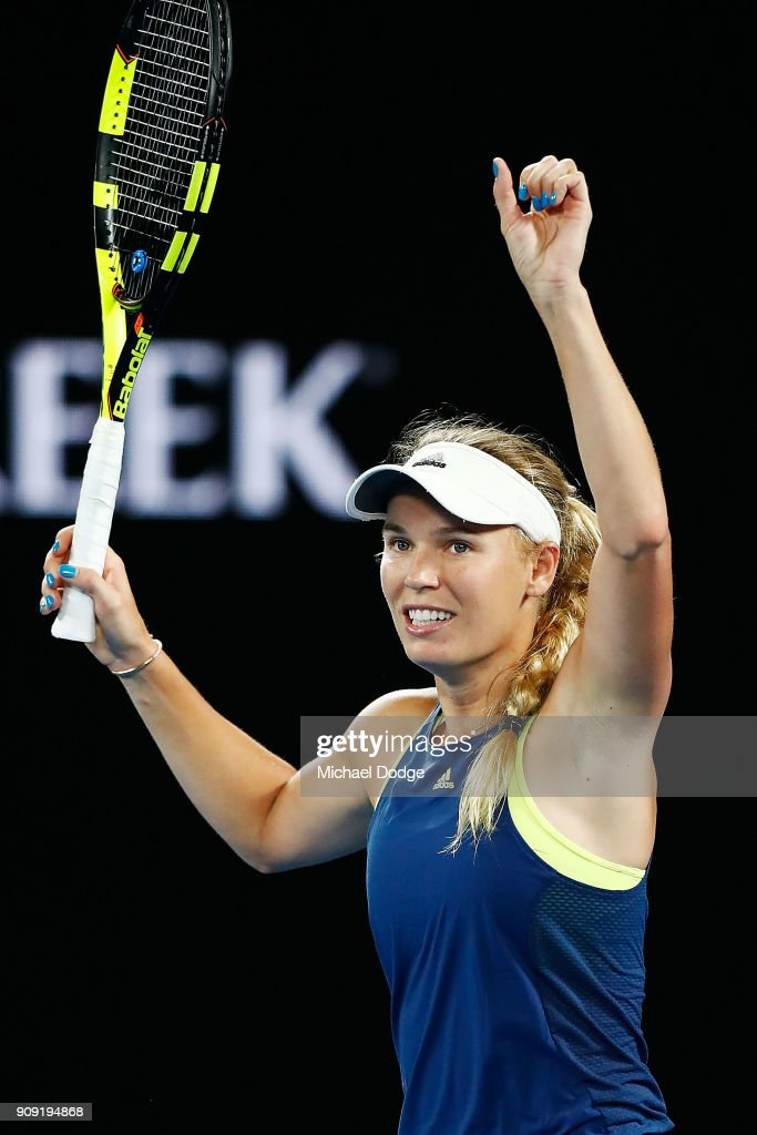 Caroline Wozniacki of Denmark celebrates winning in her quarter-final match against Carla Suarez-Navarro of Spain on day nine of the 2018 Australian Open at Melbourne Park on January 23, 2018 in Melbourne, Australia.