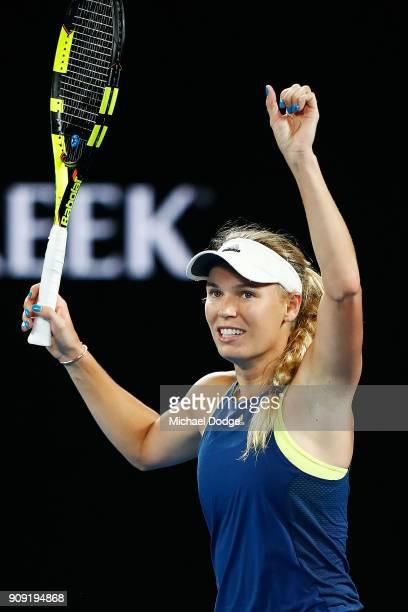 Caroline Wozniacki of Denmark celebrates winning in her quarterfinal match against Carla SuarezNavarro of Spain on day nine of the 2018 Australian...