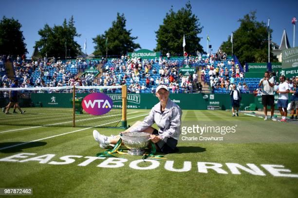 Caroline Wozniacki of Denmark celebrates winning the women singles final against Aryna Sabalenka of Belarus during Day Nine of the Nature Valley...