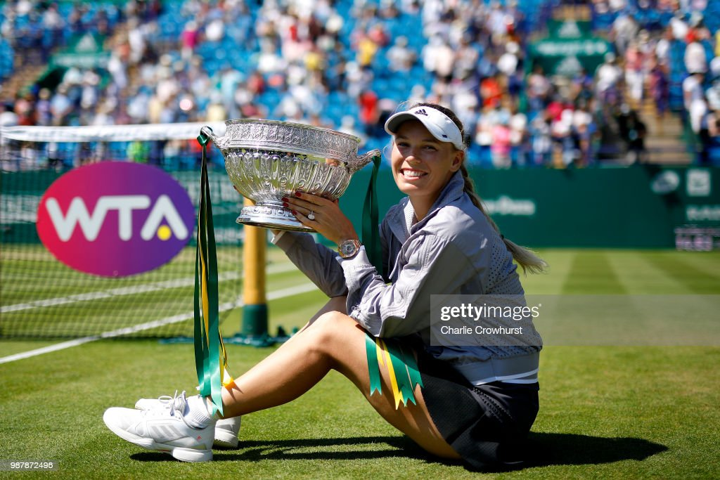 Caroline Wozniacki of Denmark celebrates winning the women singles final against Aryna Sabalenka of Belarus during Day Nine of the Nature Valley International at Devonshire Park on June 30, 2018 in Eastbourne, United Kingdom.