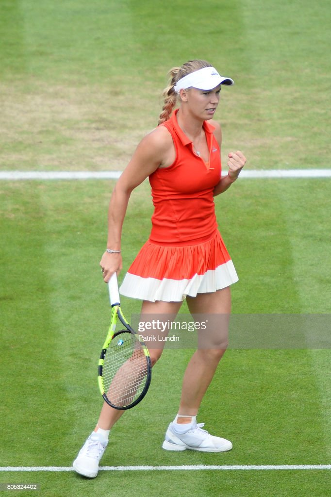 Caroline Wozniacki of Denmark celebration during the Final match against Karolina Pliskova of Czech Republic on day seven during the Aegon International Eastbourne on July 1, 2017 in Eastbourne, England.