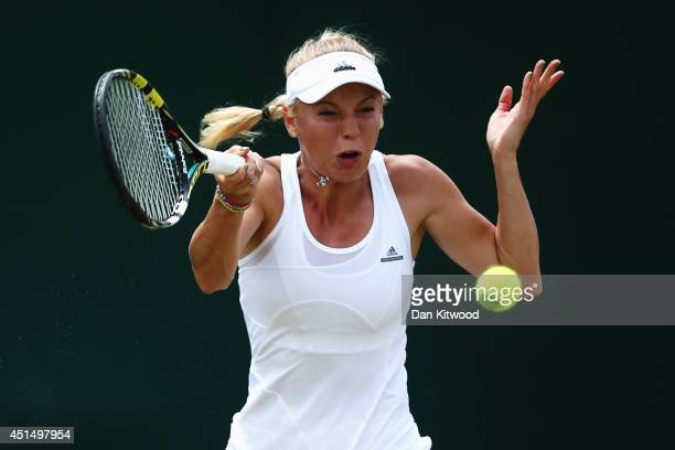 Caroline Wozniacki of Denmark during her Ladies' Singles fourth round match against Barbora Zahlavova Strycova of Czech Republic on day seven of the...