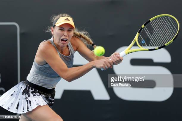 Caroline Wozniacki of Denmark during her match against Lauren Davis of USA during day four of the 2020 Women's ASB Classic at ASB Tennis Centre on...