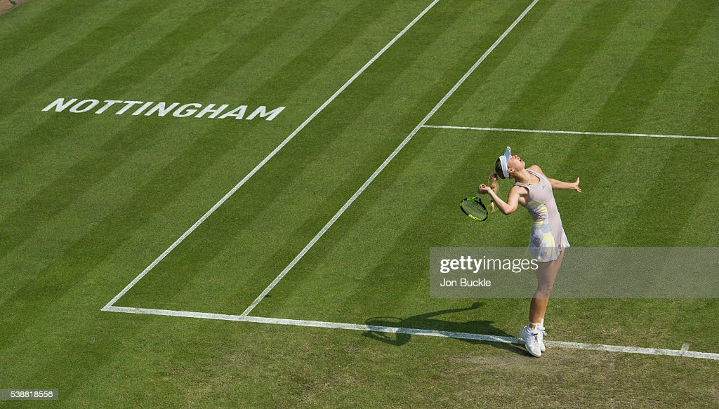Caroline Wozniacki of Denmark during her women's singles match against Anett Kontaveit of Estoniaon day three of the WTA Aegon Open on June 8, 2016 in Nottingham, England.