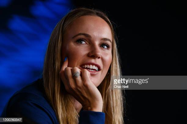 Caroline Wozniacki of Denmark during pre-tournament player media conference ahead of the 2020 Australian Open at Melbourne Park on January 18, 2020...