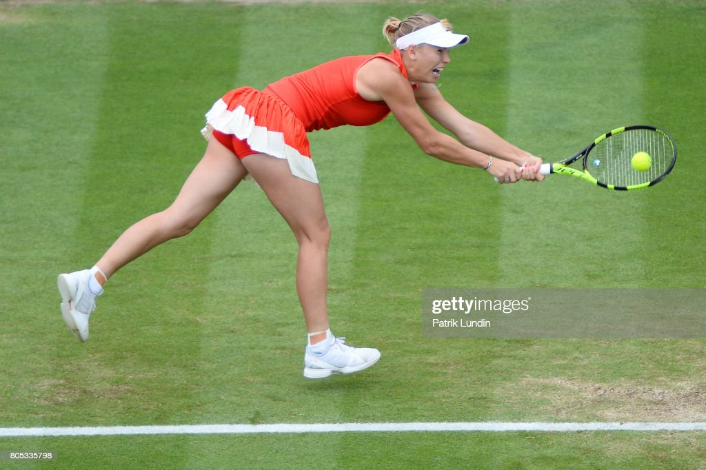 Caroline Wozniacki of Denmark hits a backhand during the Final match against Karolina Pliskova of Czech Republic on day seven on July 1, 2017 in Eastbourne, England.