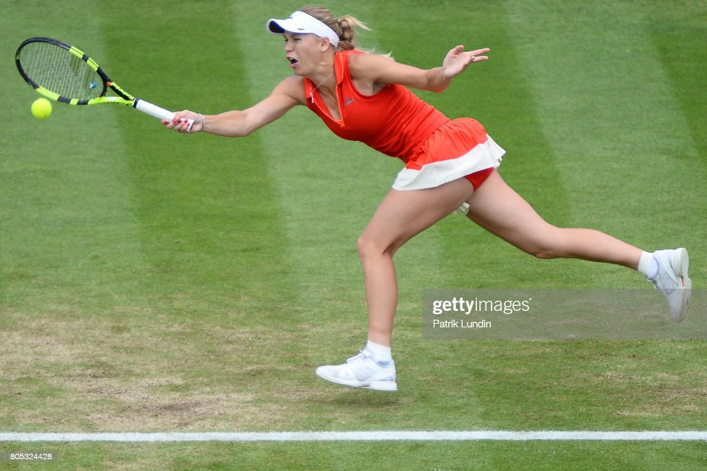 Caroline Wozniacki of Denmark hits a forehand during the Final match against Caroline Wozniacki of Denmark on day seven during the Aegon International Eastbourne on July 1, 2017 in Eastbourne, England.