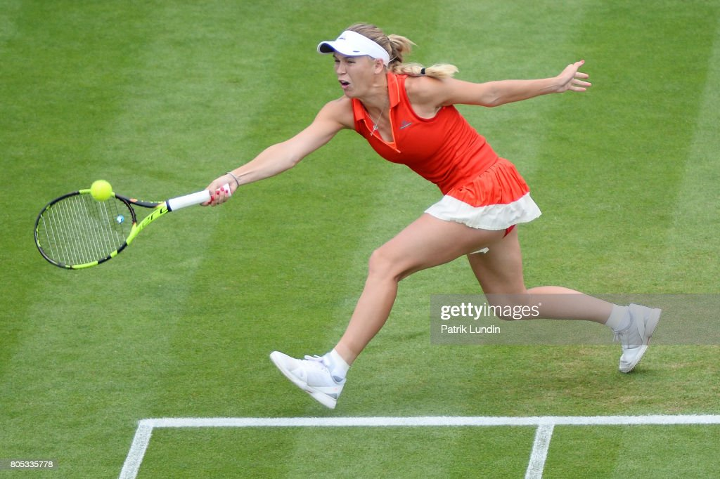 Caroline Wozniacki of Denmark hits a forehand during the Final match against Karolina Pliskova of Czech Republic on July 1, 2017 in Eastbourne, England.