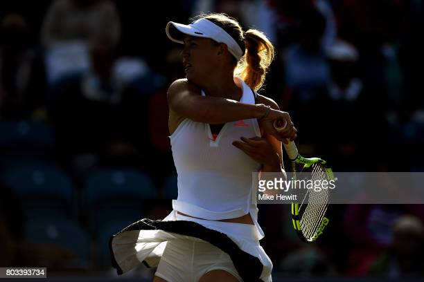 Caroline Wozniacki of Denmark hits a forehand during the ladies singles quarter final match against Simona Halep of Romania on day five of the Aegon...