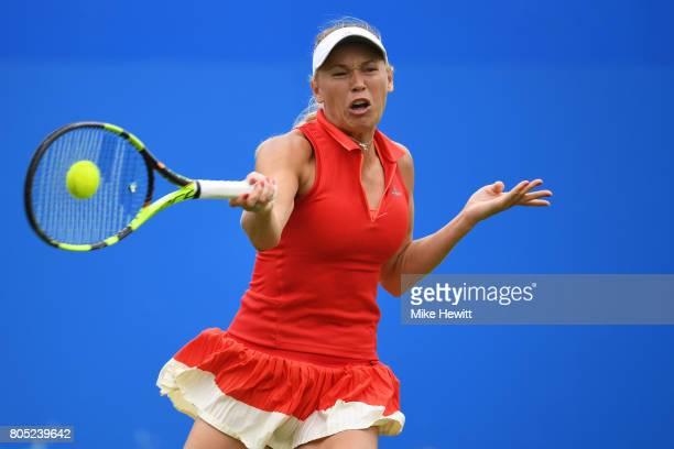 Caroline Wozniacki of Denmark hits a forehand during the ladies singles final against Karolina Pliskova of the Czech Republic on day seven of the...