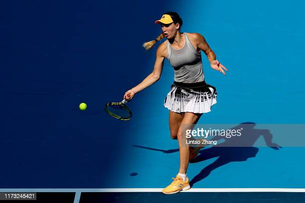 Caroline Wozniacki of Denmark in action against Katerina Siniakova of Czech Republic during the Women's singles third round of 2019 China Open at the...
