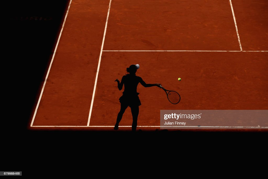 Caroline Wozniacki of Denmark in action against Monica Niculescu of Romania during day two of the Mutua Madrid Open tennis at La Caja Magica on May 7, 2017 in Madrid, Spain.