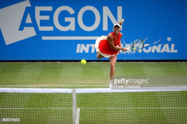 Caroline Wozniacki of Denmark in action during her singles match against Elena Vesnina of Russia during day five of the Aegon International...