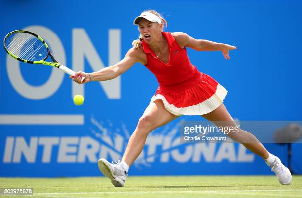 Caroline Wozniacki of Denmark in action during her women's semi final match against Heather Watson of Great Britain on day 6 of the Aegon...