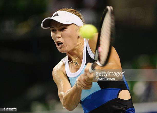 Caroline Wozniacki of Denmark in action during her women's singles third round match against Magdalena Rybarikova of Slovakia during day four of the...