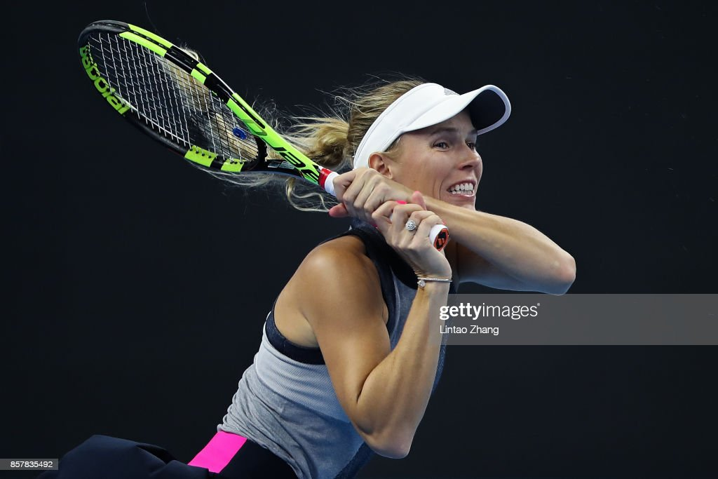 Caroline Wozniacki of Denmark in action during the Women's singles third round match against Petra Kvitova of the Czech Repubic on day six at the China National Tennis Centre on October 5, 2017 in Beijing, China.