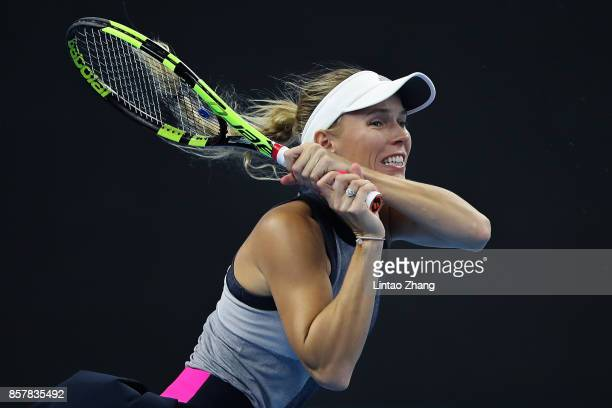 Caroline Wozniacki of Denmark in action during the Women's singles thrid round match against Petra Kvitova of the Czech Repubic on day six at the...