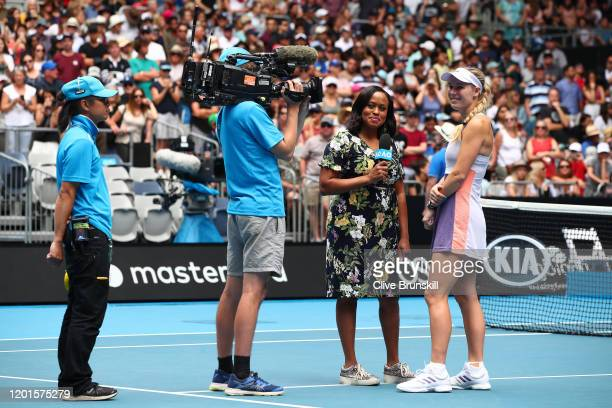 Caroline Wozniacki of Denmark is interviewed after her Women's Singles third round match against Ons Jabeur of Tunisia on day five of the 2020...