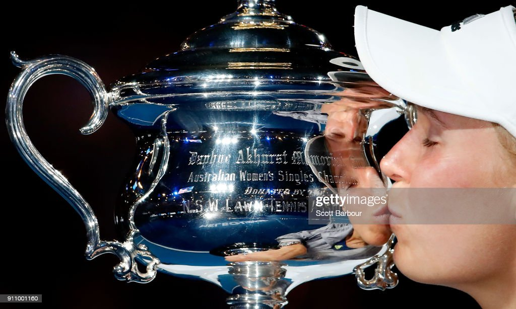 Caroline Wozniacki of Denmark kisses the Daphne Akhurst Memorial Cup after winning the women's singles final against Simona Halep of Romania on day 13 of the 2018 Australian Open at Melbourne Park on January 27, 2018 in Melbourne, Australia.