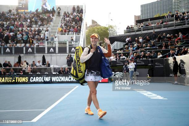 Caroline Wozniacki of Denmark leaves the court following her first round match against Paige Hourigan of New Zealand during day two of the 2020 ASB...